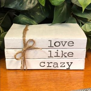 3 farmhouse inspired books stamped Love like crazy
